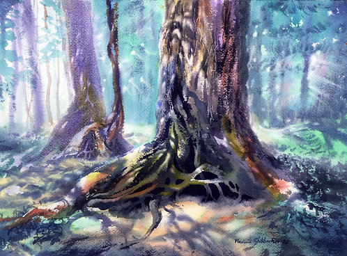 SITKA WOODS. ALASKA original watercolor(unframed)