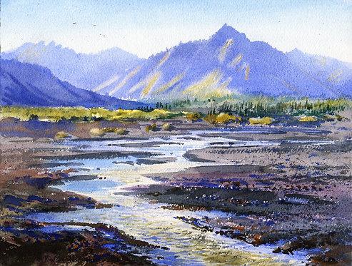 #17 SAVAGE RIVER IN DENALI original watercolor(unframed)