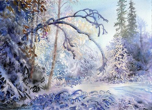 Vladimir Zhikhartsev WINTER PARADISE original watercolor