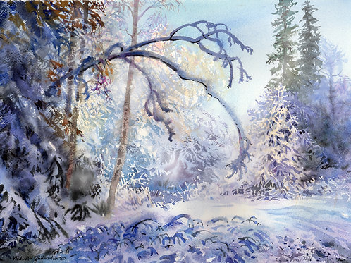 Vladimir Zhikhartsev WINTER PARADISE original watercolor