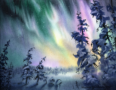 ALASKA LIGHT SYMPHONY original watercolor(unframed)