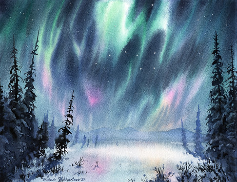 MARCH AURORA, ALASKA original watercolor(unframed)