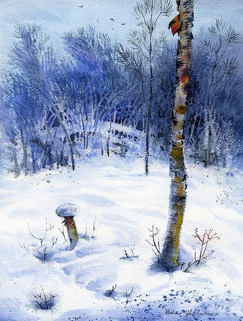 EXPECTATION OF SPRING, ALASKA original watercolor(unframed)
