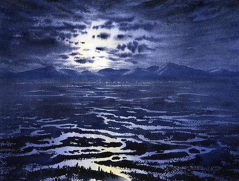 Vladimir Zhikhartsev #16 TANANA VALLEY AT NIGHT original watercolor(unframed)