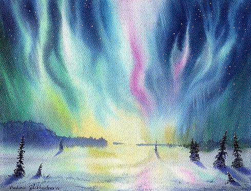 DAZZLING LIGHTS, ALASKA original watercolor(unframed)