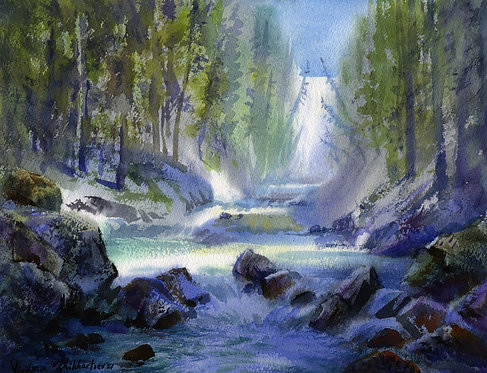 #44 Vladimir Zhikhartsev CREEK ON YUKON original watercolor(unframed)