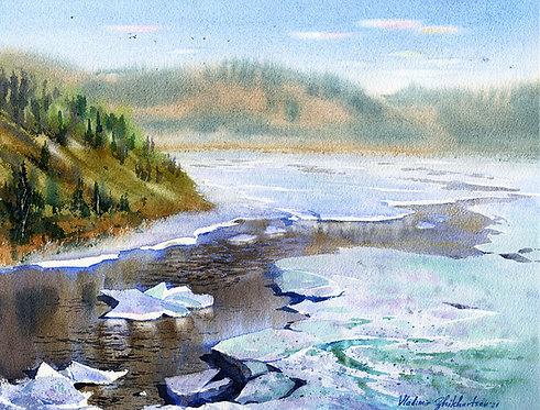 ROBERTSON RIVER, ALASKA original watercolor(unframed)