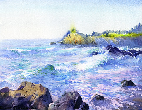 SELDOVIA SHORE, ALASKA original watercolor(unframed)