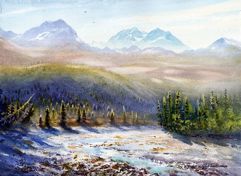 Vladimir Zhikhartsev GHOST MOUNTAIN. DENALI original watercolor