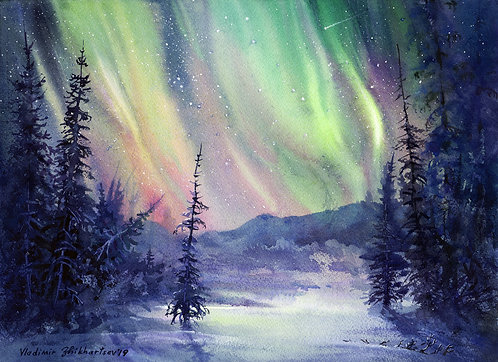 Vladimir Zhikhartsev AURORA NIGHT, ALASKA original watercolor (unframed)