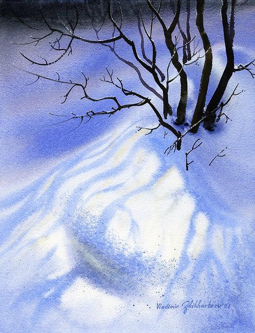 DAPPLED LIGHT, ALASKA original watercolor(unframed)