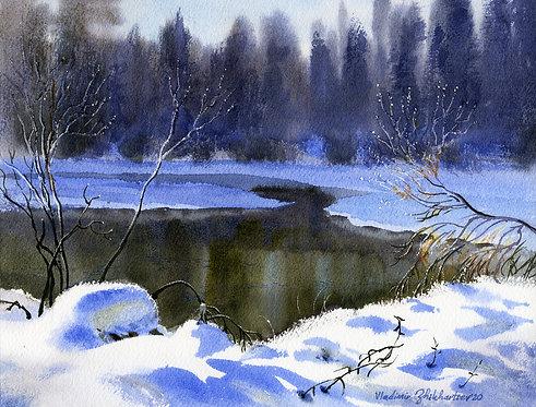 Vladimir Zhikhartsev #14 CHENA RIVER. FAIRBANKS, ALASKA original watercolor (unframed)