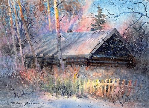 #30 Vladimir Zhikhartsev OLD HOUSE IN FAIRBANKS original watercolor(unframed)