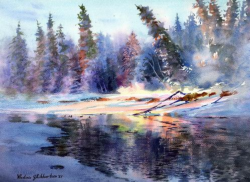 #29 Vladimir Zhikhartsev WINTER LIGHT ON CHENA RIVER original watercolor(unframe