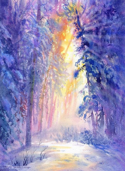 Vladimir Zhikhartsev CATHEDRAL OF LIGHT, ALASKA original watercolor (unframed)