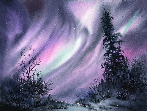 Vladimir Zhikhartsev #6  GLORIOUS DRAPERY, ALASKA original watercolor(unframed)