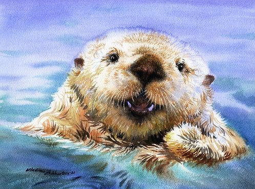 SEA OTTER. SEWARD, ALASKA original watercolor (unframed)