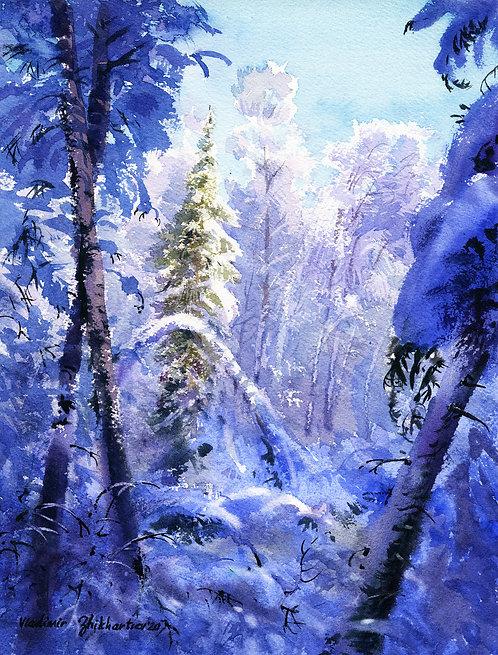 Vladimir Zhikhartsev #10 WINTER WANDERLAND II, ALASKA original watercolor(unframed)