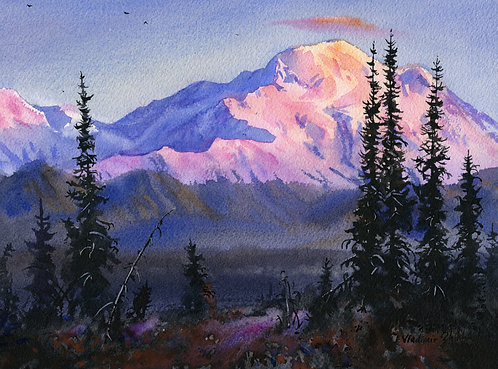 #19 ALPENGLOW ON DENALI  original watercolor(unframed)