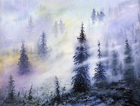MISTY TREES, ALASKA original watercolor(unframed)