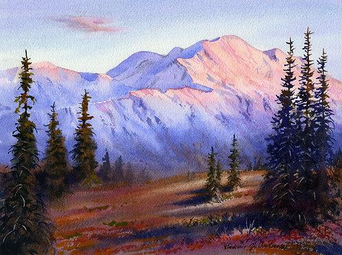 EVENING IN DENALI, ALASKA original watercolor(unframed)