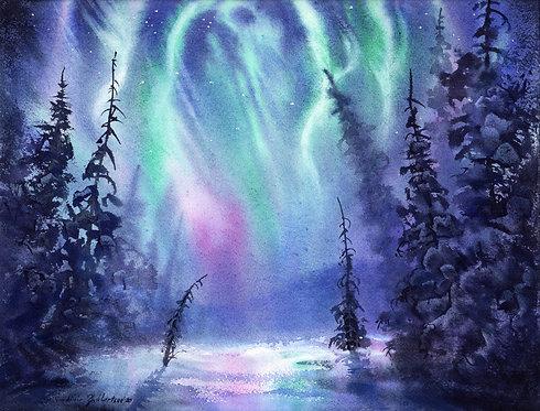 DANCING SPIRITS, ALASKA original watercolor (unframed)
