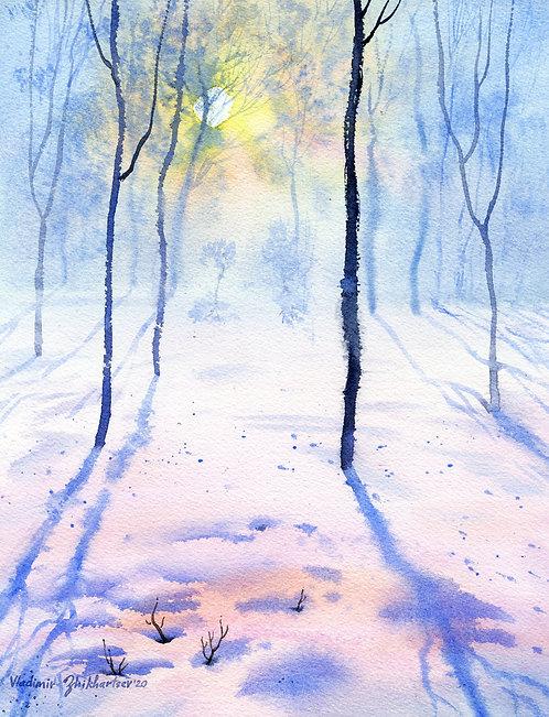#18 WINTER LIGHTS original watercolor (unframed)