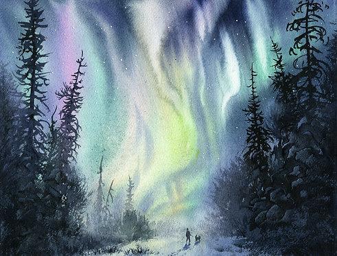Vladimir Zhikhartsev ALASKA NIGHT original watercolor(unframed)