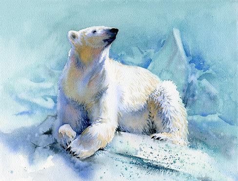 #37 Vladimir Zhikhartsev POLAR BEAR, ALASKA original watercolor(unframed)