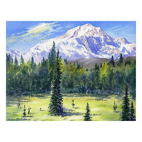 DENALI FROM PETERSVILLE, ALASKA original watercolor, unframed