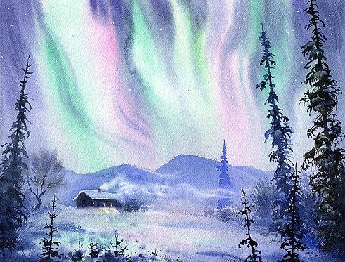 POLAR LIGHTS, ALASKA original watercolor(unframed)