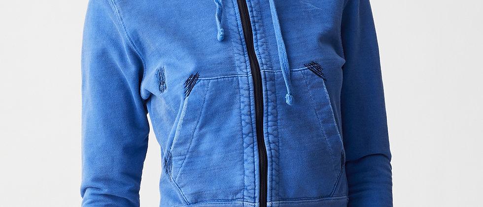 Vintage wash -mended crop hoodie