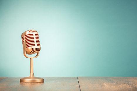 Retro golden microphone for press confer