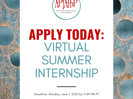 Call for Applicants: Summer 2021 Virtual Internship