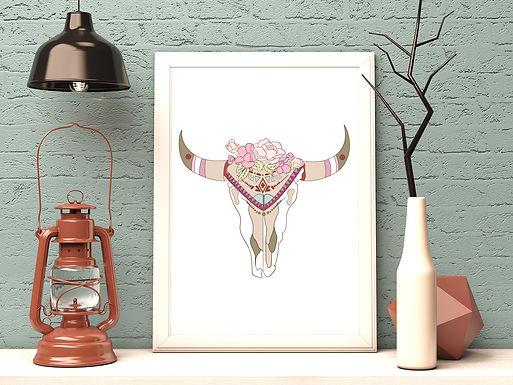 Boho Skull | Digital File Black | DIY Print