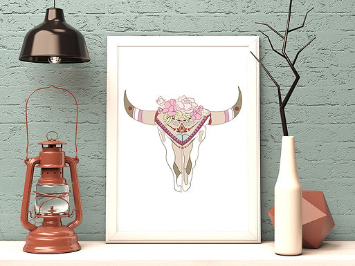 Boho Skull   Digital File Black   DIY Print