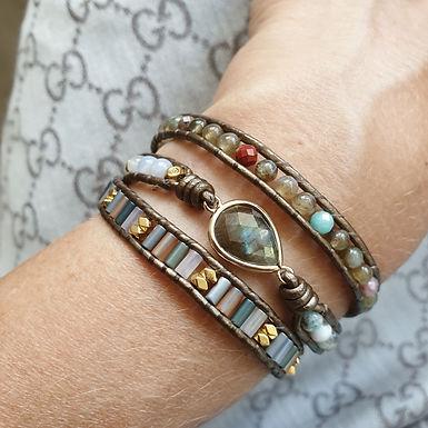 Leather Wrap Bracelet | Real Labrodite Gemstones | Crystal