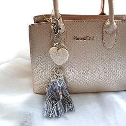 Boho Keychain | Grey Lilac | Stone