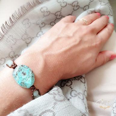 Leather Wrap Bracelet   Real Turquoise Gemstone