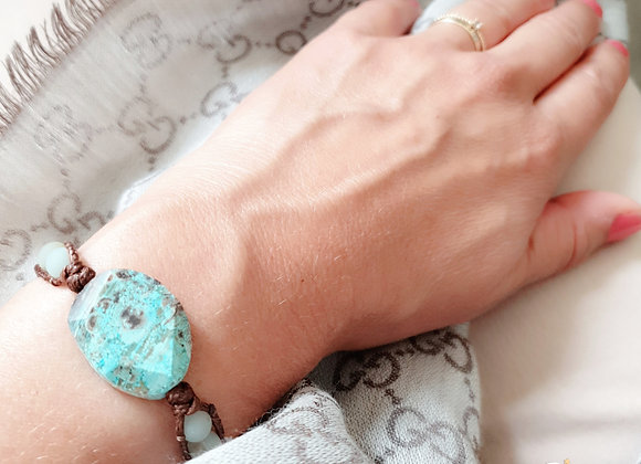 Leather Wrap Bracelet | Real Turquoise Gemstone