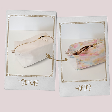 Canvas bag for cosmetics or school accessories