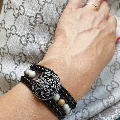 Leather Wrap Bracelet | Real Onyx Gemstones