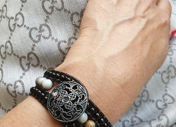Leather Wrap Bracelet   Real Onyx Gemstones