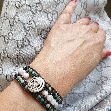Leather Wrap Bracelet | Real Jasper Gemstones