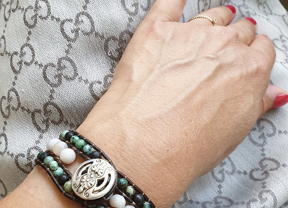 Leather Wrap Bracelet | Real Jasper Gemstones