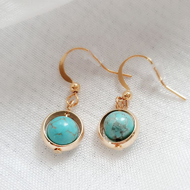 Gold-coloured Earrings | Real Turquoise Gemstone