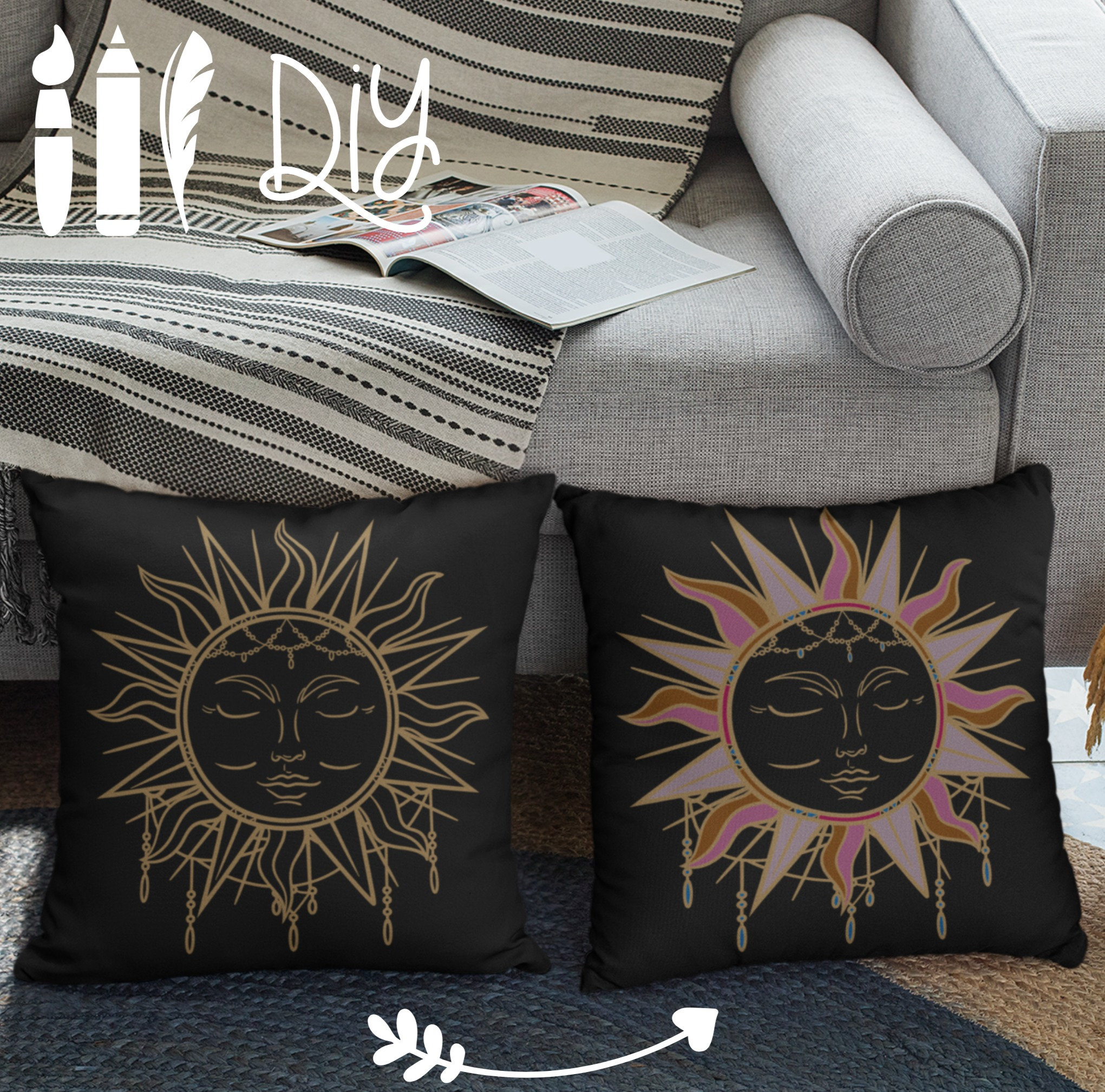 Boho Pillow Case Sun Gold Diy Boho Dye Com