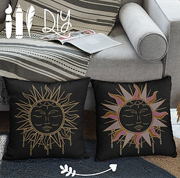 Boho Pillow Case Sun | Gold | DIY
