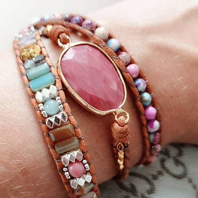 Leather Wrap Bracelet | Real Jasper Gemstone | SOLD