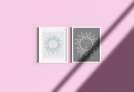 Boho Sun | Digital File Silver | DIY Print